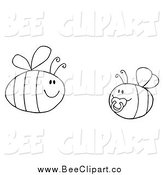 Cartoon Vector Clip Art of a Black and White Pudgy Baby Bee with a Parent by Hit Toon