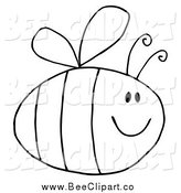 Cartoon Vector Clip Art of a Black and White Pudgy Bee by Hit Toon