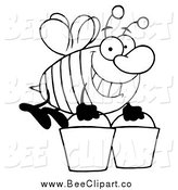 Cartoon Vector Clip Art of a Black and White Worker Bee Carrying Two Buckets by Hit Toon