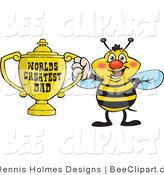 Cartoon Vector Clip Art of a Blushing Honey Bee Character Holding a Golden Worlds Greatest Dad Trophy by Dennis Holmes Designs