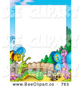 Cartoon Vector Clip Art of a Border of Happy Insects in a Garden Around Blank White Space by Visekart