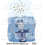 December 20th, 2013: Cartoon Vector Clip Art of a Boy Underwater, Waiting for Bees to Go Away by BNP Design Studio