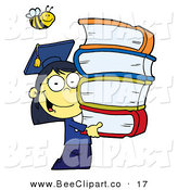 Cartoon Vector Clip Art of a Bumble Bee over an Oriental Graduate School Girl Carrying a Stack of Books by Hit Toon
