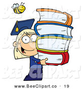 Cartoon Vector Clip Art of a Bumblebee over a Caucasian Graduate School Girl Carrying a Stack of Books by Hit Toon
