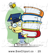 Cartoon Vector Clip Art of a Bumblebee over a Happy Oriental Graduate School Boy Carrying a Stack of Books by Hit Toon