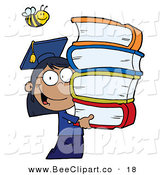 Cartoon Vector Clip Art of a Bumblebee over an African American Graduate School Girl Carrying a Stack of Books by Hit Toon