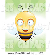Cartoon Vector Clip Art of a Cheerful Little Bee Flying Forward, over Green by Cory Thoman