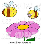 Cartoon Vector Clip Art of a Chubby Baby Bee and Mother Bee over a Flower by Hit Toon