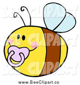 Cartoon Vector Clip Art of a Chubby Baby Bee with a Pacifier by Hit Toon