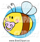 Cartoon Vector Clip Art of a Chubby Baby Bee with a Pacifier over a Blue Circle by Hit Toon