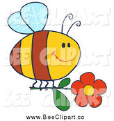 Cartoon Vector Clip Art of a Chubby Bee Flying with a Red Daisy Flower by Hit Toon