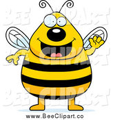 Cartoon Vector Clip Art of a Chubby Friendly Bee Waving by Cory Thoman