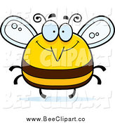 Cartoon Vector Clip Art of a Chubby Happy Bee by Cory Thoman
