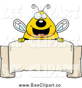 Cartoon Vector Clip Art of a Chubby Happy Bee over a Blank Parchment Banner by Cory Thoman