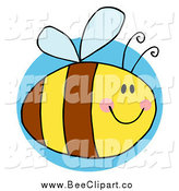 Cartoon Vector Clip Art of a Chubby Happy Bee over a Blue Circle by Hit Toon