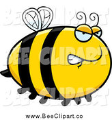 Cartoon Vector Clip Art of a Chubby Mad Bee by Cory Thoman