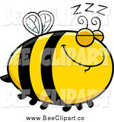 Cartoon Vector Clip Art of a Chubby Sleeping Bee with Zs by Cory Thoman