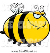 January 7th, 2015: Cartoon Vector Clip Art of a Chubby Sly Bee Flying by Cory Thoman