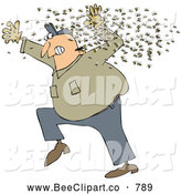 Cartoon Vector Clip Art of a Chubby White Man Running Away from a Swarm of Bees - Coloring Page Outline by Djart