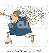 Cartoon Vector Clip Art of a Chubby White Woman Running Away from a Swarm of Bees by Djart