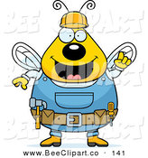 Cartoon Vector Clip Art of a Chubby Yellow Worker Bee with His Gear by Cory Thoman