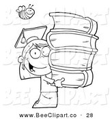 Cartoon Vector Clip Art of a Coloring Page Bee over an Outlined Graduate School Girl Carrying a Stack of Books by Hit Toon