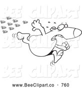 Cartoon Vector Clip Art of a Coloring Page of a Bear Fleeing from Bees by Toonaday