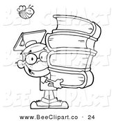 Cartoon Vector Clip Art of a Coloring Page of a Bee over an Graduate School Boy Carrying a Stack of Books by Hit Toon