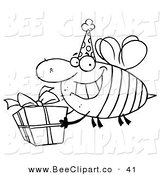 Cartoon Vector Clip Art of a Coloring Page of a Birthday Bee by Hit Toon
