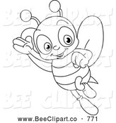 Cartoon Vector Clip Art of a Coloring Page of a Happy Bee by Yayayoyo