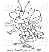 Cartoon Vector Clip Art of a Coloring Page of a Quilted Bee by Toonaday