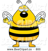 Cartoon Vector Clip Art of a Confused Chubby Bee Shrugging by Cory Thoman