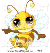 Cartoon Vector Clip Art of a Cute Baby Honey Bee Flying and Pointing by Pushkin