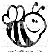 Cartoon Vector Clip Art of a Cute Black and White Smiling Bee Flying RIght by Hit Toon