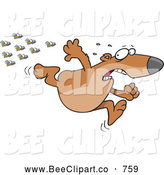 Cartoon Vector Clip Art of a Cute Cartoon Bear Fleeing from Bees by Toonaday