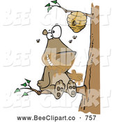 Cartoon Vector Clip Art of a Cute Cartoon Bear Sitting on a Branch and Getting Honey by Toonaday