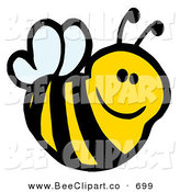 Cartoon Vector Clip Art of a Cute Cartoon Smiling Bee Looking Right by Hit Toon