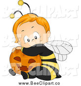 Cartoon Vector Clip Art of a Cute Halloween Toddler Baby in a Bee Costume, Hugging a Pumpkin by BNP Design Studio