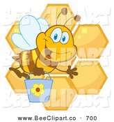 Cartoon Vector Clip Art of a Cute Happy Bee Waving and Carrying a Bucket over Honeycombs by Hit Toon