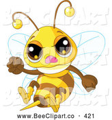 Cartoon Vector Clip Art of a Cute Mad Bee Waving a Fist by Pushkin
