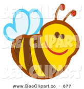 Cartoon Vector Clip Art of a Cute Smiling Bee Looking Right by Hit Toon