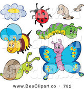 Cartoon Vector Clip Art of a Digital Collage of Cute Insects on White by Visekart