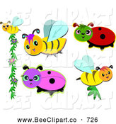 Cartoon Vector Clip Art of a Digital Set of Cute Insects by
