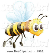 Cartoon Vector Clip Art of a Flying Bee by Graphics RF