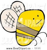 Cartoon Vector Clip Art of a Flying Bee by Lineartestpilot