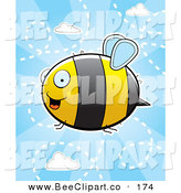 Cartoon Vector Clip Art of a Flying Bumblebee in a Cloudy Blue Sky by Cory Thoman