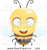 Cartoon Vector Clip Art of a Friendly and Curious Humanoid Bee by Cory Thoman