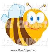 Cartoon Vector Clip Art of a Friendly Bee with Blue Eyes by Hit Toon