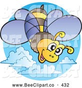 Cartoon Vector Clip Art of a Friendly Goofy Flying Bee Logo by Visekart