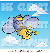 Cartoon Vector Clip Art of a Friendly Happy Bee Shooting Through the Sky by Visekart